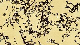 Σημειώσεις μουσικής που ρέουν στο παλαιό υπόβαθρο εγγράφου ελεύθερη απεικόνιση δικαιώματος