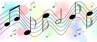 Σημειώσεις μουσικής στο ζωηρόχρωμο Spatters και παφλασμών υπόβαθρο ελεύθερη απεικόνιση δικαιώματος