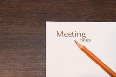 Σημειώσεις συνεδρίασης με το μολύβι Στοκ εικόνα με δικαίωμα ελεύθερης χρήσης