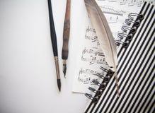 Σημειώσεις σύνθεσης και γραψίματος  υπόβαθρο με το διάστημα αντιγράφων Στοκ εικόνες με δικαίωμα ελεύθερης χρήσης