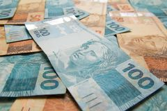 Σημειώσεις του πραγματικού, βραζιλιάνου νομίσματος χρήματα της Βραζιλίας Στοκ φωτογραφίες με δικαίωμα ελεύθερης χρήσης