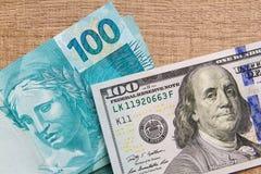 Σημειώσεις του πραγματικού, βραζιλιάνου νομίσματος χρήματα της Βραζιλίας Στοκ Εικόνες
