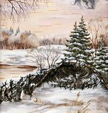σιβηρικός χειμώνας τοπίων Στοκ Φωτογραφία