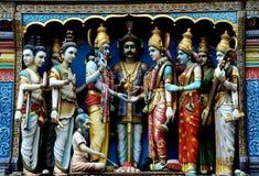 Σιγκαπούρη: Ινδικές θεότητες στον ινδό ναό Στοκ Φωτογραφία