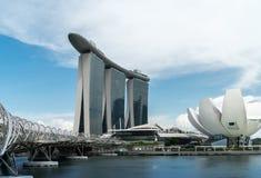 Σιγκαπούρη - 6 Ιουνίου 2017: Ο κόλπος μαρινών στρώνει με άμμο το ξενοδοχείο πολυτελείας, το κατάστημα στοκ εικόνα
