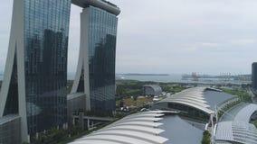 Σιγκαπούρη - 25 Σεπτεμβρίου 2018: Κλείστε επάνω για το θέρετρο άμμων κόλπων μαρινών με την πρόσοψη glace στη Σιγκαπούρη πλάνο Κλε στοκ φωτογραφία με δικαίωμα ελεύθερης χρήσης