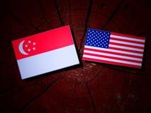 Σιγκαπούριος σημαία με την ΑΜΕΡΙΚΑΝΙΚΗ σημαία σε ένα κολόβωμα δέντρων Στοκ φωτογραφία με δικαίωμα ελεύθερης χρήσης