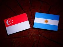 Σιγκαπούριος σημαία με την αργεντινή σημαία σε ένα κολόβωμα δέντρων που απομονώνεται Στοκ εικόνες με δικαίωμα ελεύθερης χρήσης