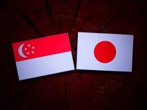 Σιγκαπούριος σημαία με την ιαπωνική σημαία σε ένα κολόβωμα δέντρων που απομονώνεται Στοκ φωτογραφία με δικαίωμα ελεύθερης χρήσης