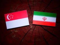 Σιγκαπούριος σημαία με την ιρανική σημαία σε ένα κολόβωμα δέντρων που απομονώνεται Στοκ Εικόνα