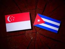 Σιγκαπούριος σημαία με την κουβανική σημαία σε ένα κολόβωμα δέντρων που απομονώνεται Στοκ Φωτογραφίες