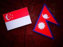Σιγκαπούριος σημαία με τη σημαία Nepali σε ένα κολόβωμα δέντρων που απομονώνεται Στοκ Εικόνα