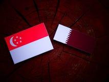 Σιγκαπούριος σημαία με τη σημαία Qatari σε ένα κολόβωμα δέντρων που απομονώνεται Στοκ εικόνες με δικαίωμα ελεύθερης χρήσης
