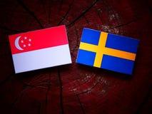 Σιγκαπούριος σημαία με τη σουηδική σημαία σε ένα κολόβωμα δέντρων Στοκ φωτογραφία με δικαίωμα ελεύθερης χρήσης