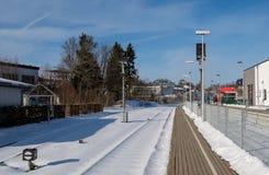 Σιδηροδρομική γραμμή στο σιδηροδρομικό σταθμό Στοκ Εικόνες