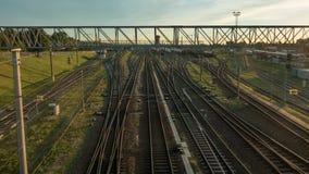Σιδηροδρομικός σταθμός στο σούρουπο, χρόνος-σφάλμα, Vilnius, Λιθουανία απόθεμα βίντεο