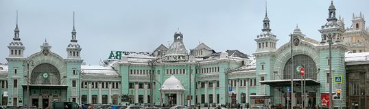 Σιδηροδρομικός σταθμός Belorussky Χειμώνας, χιονώδης ημέρα Στοκ Φωτογραφία