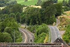 Σιδηρόδρομοι και διαδρομή σιδηροδρόμου Στοκ Εικόνες