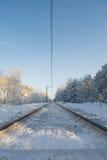 Σιδηρόδρομος στο χιόνι Στοκ Εικόνες