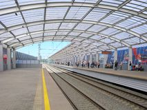 Σιδηρόδρομος του κεντρικού κύκλου της Μόσχας, σταθμός Luzhniki Στοκ φωτογραφίες με δικαίωμα ελεύθερης χρήσης