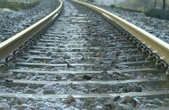 Σιδηρόδρομος χαμηλό σε perspektive της Σουηδίας ένα κρύο απόγευμα αμέσως πριν από το χιόνι Η σταθεροποίηση στη ράγα είναι τύπος P στοκ φωτογραφία με δικαίωμα ελεύθερης χρήσης