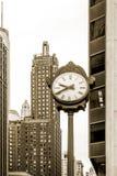 Σικάγο, Ιλλινόις, ρολόι οδών, περιοχή βρόχων, σέπια Στοκ Φωτογραφίες