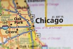 Σικάγο, Ιλλινόις στο χάρτη Στοκ Εικόνες
