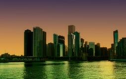 Σικάγο τη νύχτα Στοκ φωτογραφία με δικαίωμα ελεύθερης χρήσης