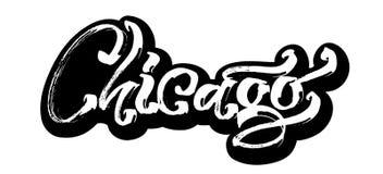 Σικάγο sticker Σύγχρονη εγγραφή χεριών καλλιγραφίας για την τυπωμένη ύλη Serigraphy απεικόνιση αποθεμάτων