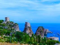 Σικελία - η ακτή - Scopello Στοκ Εικόνες