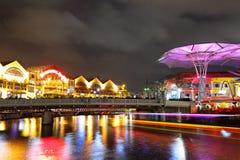 Σινγκαπούρη τή νύχτα Στοκ Φωτογραφία