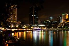 Σινγκαπούρη τή νύχτα Στοκ Εικόνα