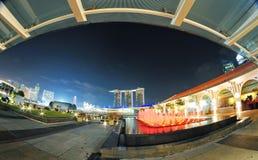 Σινγκαπούρη τη νύχτα Στοκ Φωτογραφίες