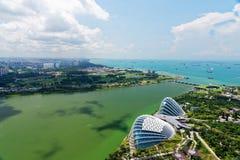 Σινγκαπούρη τον Απρίλιο του 2018 Η άποψη από τη μαρίνα τελευταίων ορόφων στρώνει με άμμο το ξενοδοχείο Στοκ εικόνες με δικαίωμα ελεύθερης χρήσης