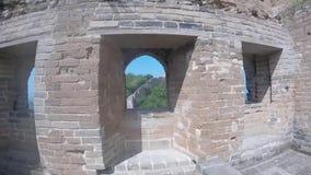 Σινικό Τείχος Κίνα, Jinshanling Κίνα άποψης παραθύρων φρουρίων απόθεμα βίντεο