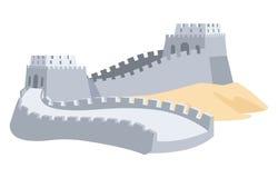 Σινικό Τείχος της Κίνας Μέρος της αρχαίας δομής διανυσματική απεικόνιση