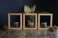 Σιτάρια καφέ στα ξύλινα πλαίσια στοκ εικόνα