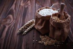 Σιτάρι και αλεύρι σίτου στις τσάντες εγγράφου Στοκ εικόνες με δικαίωμα ελεύθερης χρήσης