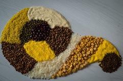Σιτάρι, ρύζι, semolina και άλλα φαγόπυρου δημητριακά Στοκ Φωτογραφίες