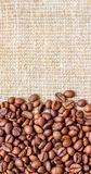 Σιτάρι του καφέ burlap Ανασκόπηση για το σχέδιο Κάθετο format_ στοκ εικόνες