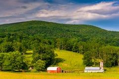 Σιταποθήκες και ένα βουνό στο αγροτικό Potomac Χάιλαντς της δύσης Virg Στοκ φωτογραφίες με δικαίωμα ελεύθερης χρήσης