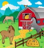 Σιταποθήκη και άλογα Στοκ Εικόνα