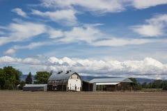 Σιταποθήκη και γεωργικός σύνθετος με τον κενό καφετή τομέα ρύπου κάτω από ένα σύνολο μπλε ουρανού των σύννεφων στοκ εικόνες με δικαίωμα ελεύθερης χρήσης
