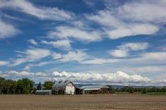 Σιταποθήκη και γεωργικός σύνθετος με τον κενό καφετή τομέα ρύπου κάτω από ένα σύνολο μπλε ουρανού των σύννεφων στοκ εικόνες