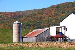 Σιταποθήκη Amish με ένα Buggie Στοκ φωτογραφία με δικαίωμα ελεύθερης χρήσης