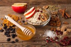 Σιταριού ελεύθερο granola paleo βρωμών ελεύθερο: μικτά καρύδια, σπόροι, σταφίδες, χ Στοκ Εικόνες