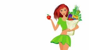 σιτηρέσιο έννοιας τρόφιμα υγιή Κορίτσι με το σύνολο τσαντών των υγιών τροφίμων ελεύθερη απεικόνιση δικαιώματος