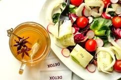 Σιτηρέσιο Detox με τη χορτοφάγο σαλάτα και το βοτανικό τσάι Στοκ εικόνες με δικαίωμα ελεύθερης χρήσης