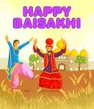 Σιχ να κάνει Bhangra, λαϊκός χορός του Punjab, Ινδία διανυσματική απεικόνιση