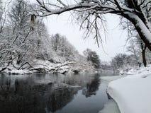 Σιωπηλός παγωμένος ποταμός Στοκ Φωτογραφίες